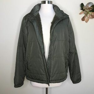 Thread & Supply Wubby Quilted Puffer Jacket Olive Green Size Large NWT